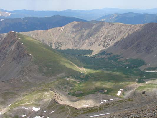 The trail to Grays and Torreys as it climbs the valley.